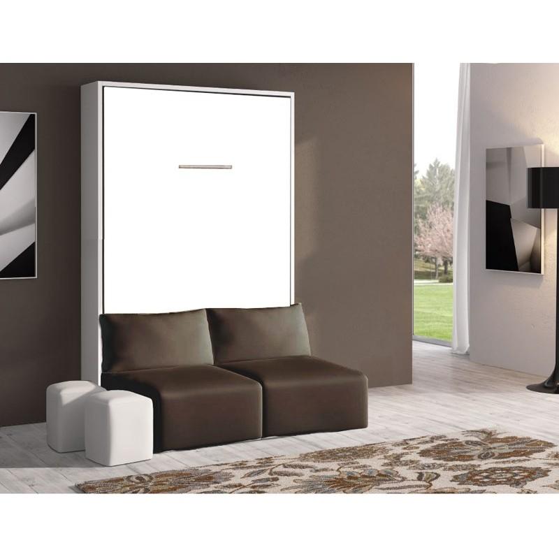 Armoire-Lit avec Canapé 140x190 BERLIOZ Blanc