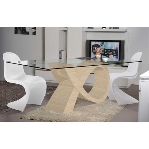 Ensemble Table de repas Design ALPHA chêne clair et 4 chaises Popart