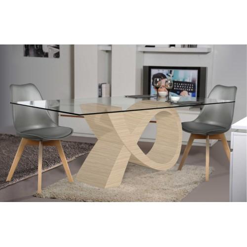 Ensemble Table de repas Design ALPHA chêne clair et 4 chaises Storm