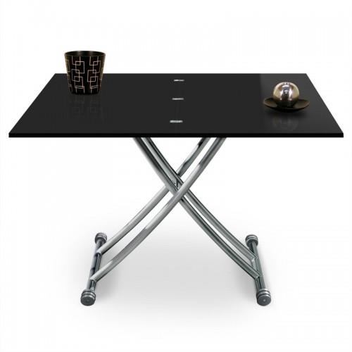 Table basse relevable Mirage dessus Verre Noir