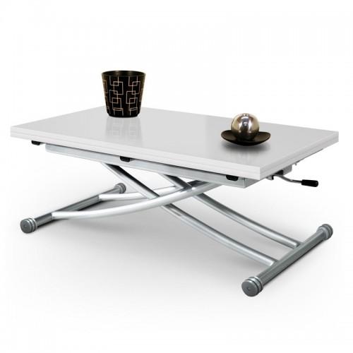 Table basse relevable Mirage Laqué Blanc